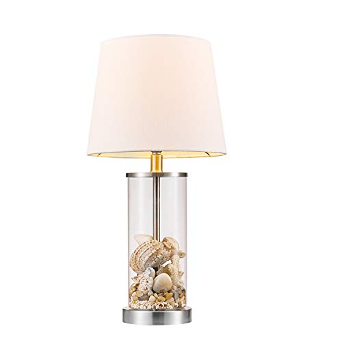 """Globe Electric Maya 21"""" Fillable Table Lamp, Clear Glass and Steel Base, White Fabric Shade 67155"""