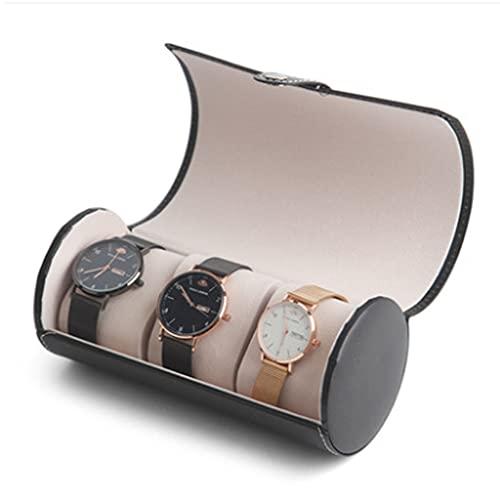 QIFFIY Caja de joyería Caja de Reloj 9 cm de Largo 19.5 cm de Altura, Hombres o Mujeres Relojes mecánicos Reloj de Cuarzo Cuero Cilindro Negro Caja de Almacenamiento (Color : Black)