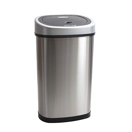D4P Display4top Automatic Touchless Infrared Motion Kitchen Sensor Bin Trash Can/Recycler,Stainless Steel Base (50L)