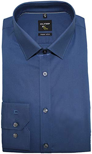 OLYMP Herren Hemd No. 6 Super Slim Fit Langarm, Blau, 40
