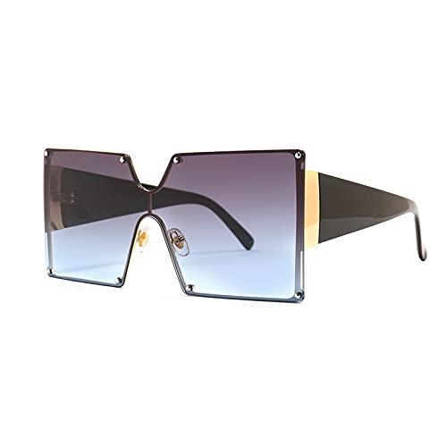ShSnnwrl Único Gafas de Sol Sunglasses Gafas De Sol Cuadradas A La Moda para Mujer, Diseñador De Gran Tamaño, Gradiente, Azul, Ne