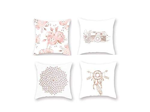 Mmdianpu Decorative Blush Pink Cotton Linen Cushion Cover, Home Accent Throw Pillow Case for Sofa Bed Chair Couch, Set of 4, 45x45cm