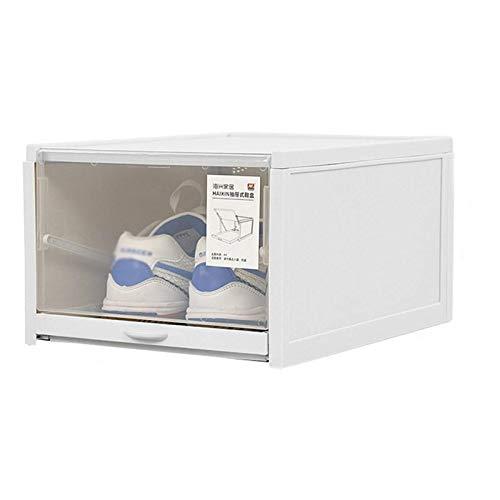 Kuingbhn Caja de almacenamiento de zapatos 2 unidades tipo cajón de empuje caja de zapatos organizador cajón de zapatos de plástico transparente pantalla de zapatos hombres