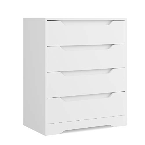 HOMECHO Schubladenkommode in Weiß Kommode mit 4 Schubladen Schubladenschrank für Schlafzimmer Wohnzimmer Badezimmer Skandinavische Anrichte Sideboard 69 * 39 * 82 cm