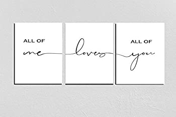 Set of 3 Prints,All Of Me Loves All Of You Print,Bedroom quotes,Above bed print,Nursery Decor,Set Of 3 Prints,Couple Print 8X10inch Noframed