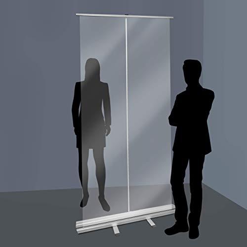 Transparente Boden-Trennwand | Rollup Wand-Barriere, transparente Trennwand für Sicherheitsabstand, 100 x 200 cm COV-ROLL100