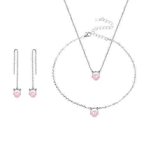 SILVERCUTE Schmuck-Set 925 Silber Katze Ohren mit Rosenquarz Kugel Collier Fußkette Ohrringe Set für Mädchen Frauen Silber Geschenk für Valentinstag Weihnachten