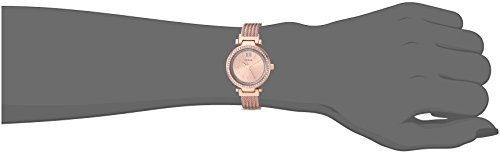 GUESS Rose Gold-Tone Stainless Steel Wire Bangle Bracelet Watch, Color: Rose Gold-Tone (Model: U1009L3)
