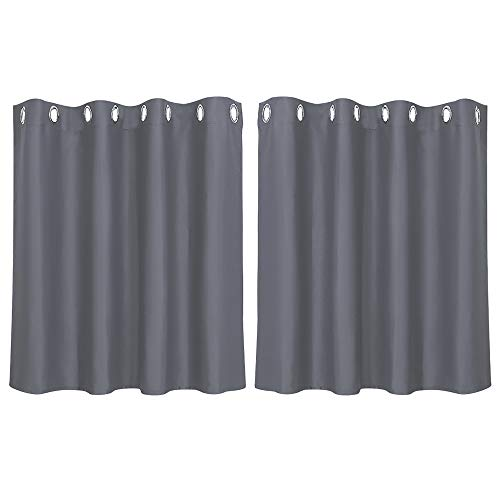 PiccoCasa 2 Stück Gardine für Küche Polyester Scheibengardine Kurzgardine Blickdicht Kleine Gardine Grau 90H x 132B cm