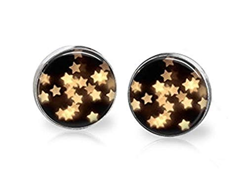 Sunshine Pendientes Glitter, estrellas amarillas intermitentes, adornos de cristal cúpula, regalos para ella
