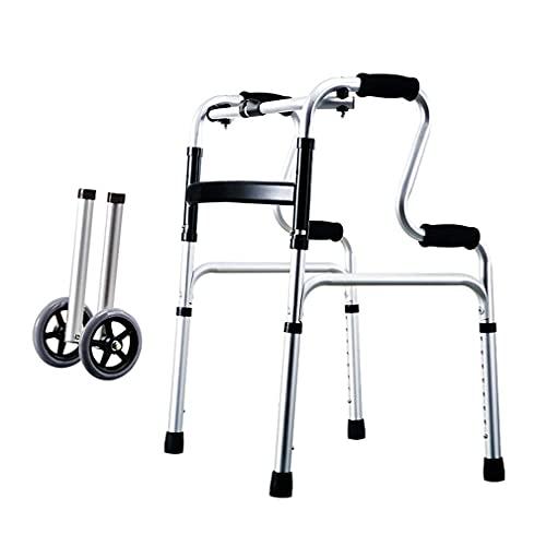 Bastidor para caminar con altura ajustable, andador, silla de ducha con almohadilla extraíble, andador bariátrico plegable con 2 ruedas, andador con ruedas, bastidor para andar con soporte de bastón d ⭐