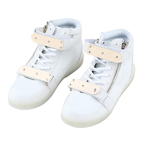 MeterBew1147 Zapatos de Hombre con Estilo Iluminación Intermitente LED Zapatos con iluminación de Estilo Superior Alto Diseño de Cremallera Zapatos Informales con Cordones para Regalo - Blanco 41