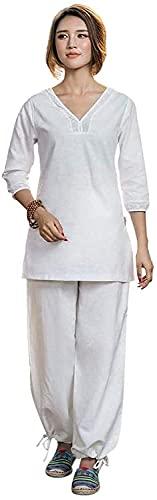 YYAI-HHJU Abbigliamento Tai Chi Donna Uomo Donna Uniforme di Arti Marziali Abbigliamento Kung Fu Cotone Abbigliamento Tai Chi Abito da Judo con Maniche A Tre Quarti Bianco **