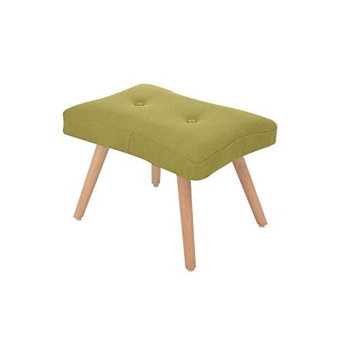 FWZJ El Lino de algodón con Forma Cuadrada de Moda se Puede Montar Banco de Zapatos Taburete de sofá Taburete de Madera Taburete de Madera, 55 * 36 * 37 cm (Color: Verde)