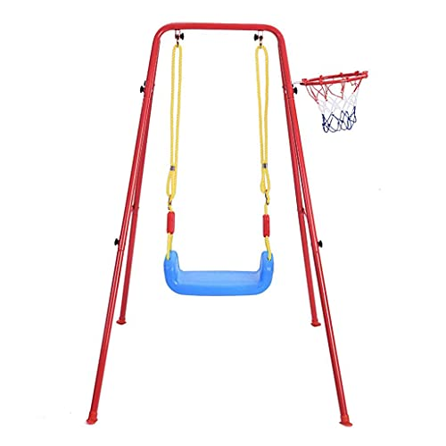 Toddler Swing with Stand, Indoor/Outdoor Swing Set with Sturdy Metal Frame & Basketball Hoop, Backyard Freestanding Swing Stand for Kids, 120 lbs Weight Capacity, 52' H x 35'W