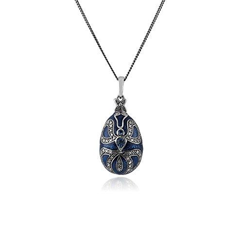 0,40 Ct Topacio Azul Plata De Ley 925 Fabergé Huevo Estilo 45cm Collar