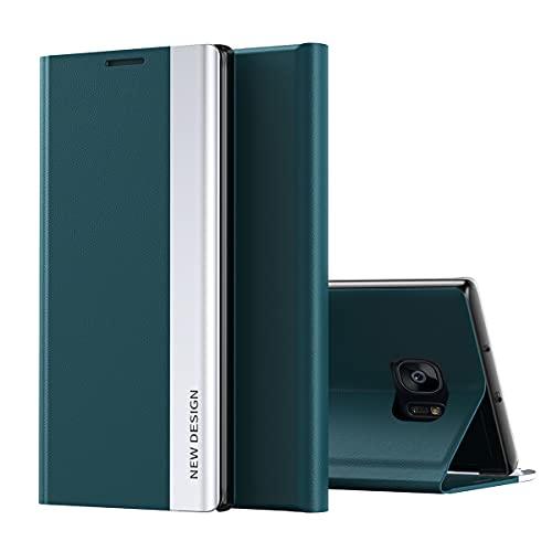 Galaxy S7 Edge Funda, Midcas Ultra-Delgado Cierre magnético Flip Cover Piel sintética Carcasa con Soporte Plegable para Samsung Galaxy S7 Edge Verde