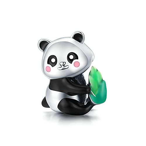 LIJIAN DIY 925 Sterling Jewelry Charm Beads Animal Cute Panda Cub con Bambú Haga Originales Pandora Collares Pulseras Y Tobilleras Regalos para Mujeres