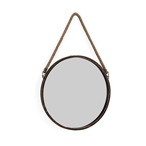 Danya B. SE021 - Espejo de pared con cuerda para colgar (metal, 38 cm), diseño rústico, color dorado