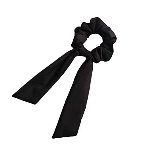 Qinlee - Gomas para el pelo, lazo largo para mujer, cinta para el pelo, cinta para el pelo, cuerda gruesa, pañuelo, bufanda, lazo vintage, coleta de caballo, posador de gomas para el pelo, Negro