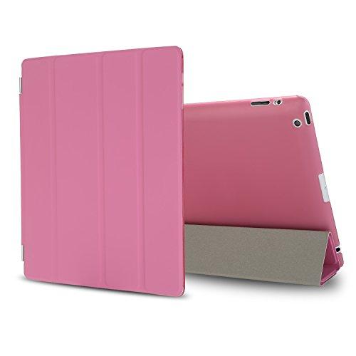 Besdata iPad 2 3 4 Hülle Smart Cover Schutz Hülle Leder Tasche Etui für Apple iPad Ständer Sleep Wake mit Bildschirmschutzfolie Reinigungstuch Stift Pink