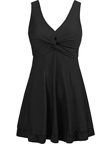 Wantdo Women's Modest Swimsuit Bathing Suit Beachwear Plus Size Black US 22W-24W