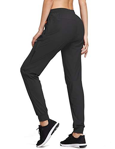 BALEAF Women's Athletic Joggers Pants Quick Dry Running Jogging Pants Zipper Pockets Sports Hiking Pants Black Size M