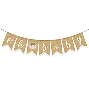 DURABLE MATERIAL: The pumpkin theme banner is made of premium burlap, thick and sturdy. This beautiful pink autumn baby banner is sure to be a hit with your guests. FALL BABY SHOWER DECORATION: 1 pcs pink pumpkin baby banner, no DIY required. Perfect...