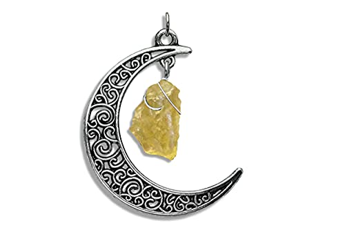 Genuine Raw Libyan Desert Glass Tibetan Silver Celtic Crescent Moon Pendant Jewelry Necklace, Natural Wire Wrapped Green Tektite Necklace with Certificate of Authenticity