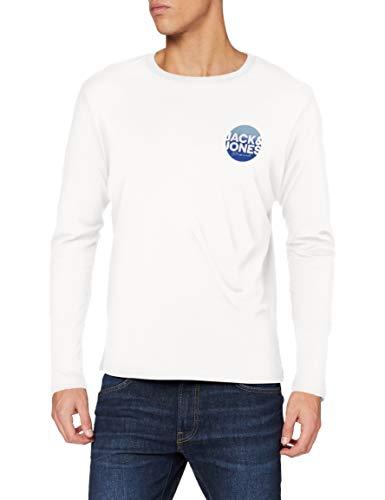 Jack & Jones JORTORPEDO Tee LS Crew Neck FST T-Shirt, Cloud Dancer/Fit : Reg JJ, M Homme