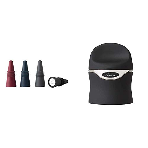 Rabbit Wine and Beverage Bottle Stoppers with Grip Top (Assorted Colors, Set of 4) & Champagne and Wine Sealer (Velvet Black)
