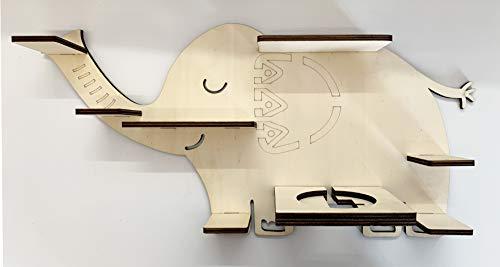 DIY Regal für die Musikbox Elefant passend für Toniebox Kinder Baby Zimmer zum selbst bemalen mit Wunschname tolles individuelles Geschenk Geburtstag