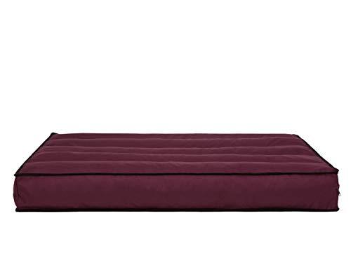 Cojín de palé extraíble, funda impermeable, cojines para palés, cojines de jardín, cojines de palés, cojines de exterior (cojín de asiento 120 x 80), color rojo vino