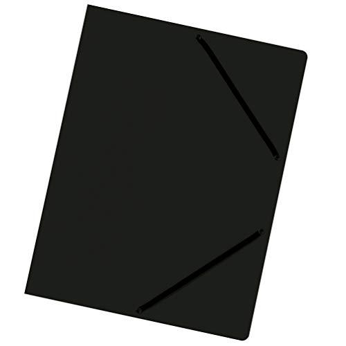 Falken - Carpetas de cartón Colorspan con 3 solapas interiores y 2 gomas elásticas DIN A4, color negro