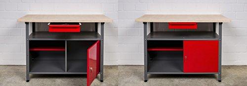 Kreher Werkbank Set 2tlg. mit 2 Werkbänken aus Metall. Jeder Werktisch mit abschließbarer Tür, Schublade, Einlegeboden und Gewindefüßen. Maße pro Tisch BxTxH ca. 120 x 60 x 85 cm.