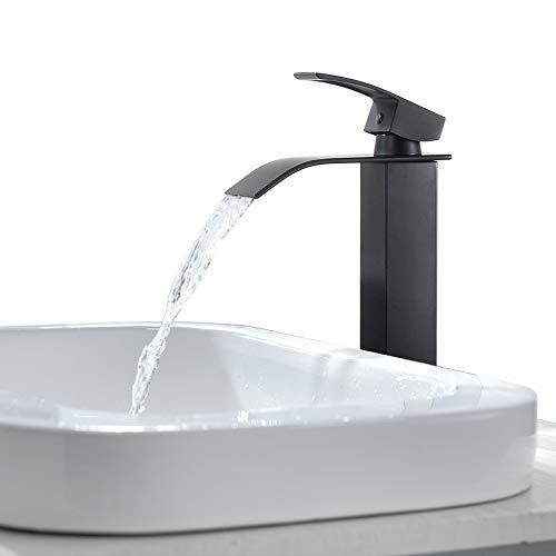 KAIBOR Schwarz Hoch Waschtischarmatur Wasserfall Wasserhahn Bad, Waschtisch-Einhebelmischer Armatur Mischbatterie für Badezimmer Waschbecken und Aufsatzwaschbecken, Keramikventil Waschtischmischer