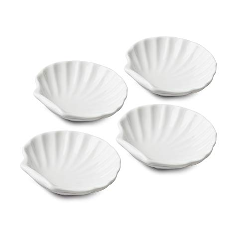 WM TSET112 Bartleet & ‿Sons 1750 Lot de 4 plats traditionnels en porcelaine Motif coquillage Blanc 10 cm