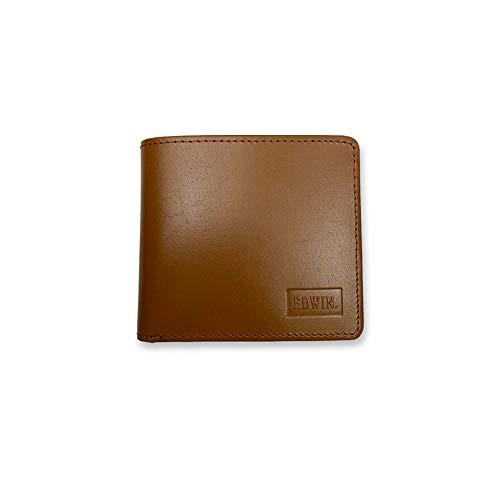 EDWIN エドウイン リアルレザー シンプル 二つ折り財布 ショートウォレット 牛革(0510534) (ブラウン)