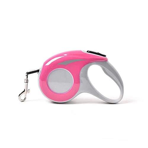 DAQIAO No Tangle Reflective Nylon Ribbon Einziehbare Hundeleine zum Gehen Kleine mittelgroße Hunde Rasset Automatisch ausziehbare Haustierleinen-Pink_5m