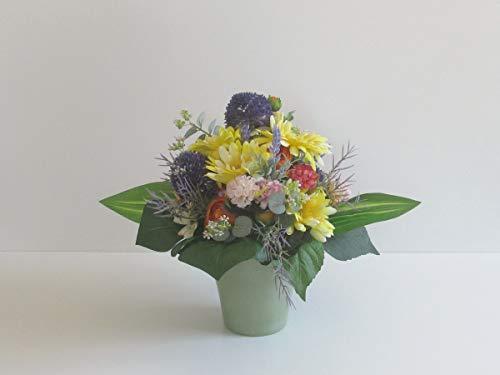 Blumendekoration Gerbera in Gelb Ranunkeln in Orange Hortensien künstliche Blumen Tischgesteck Blumengesteck Seidenblumen Blumendekoration Muttertagsgeschenk Geburtstag Hochzeit…