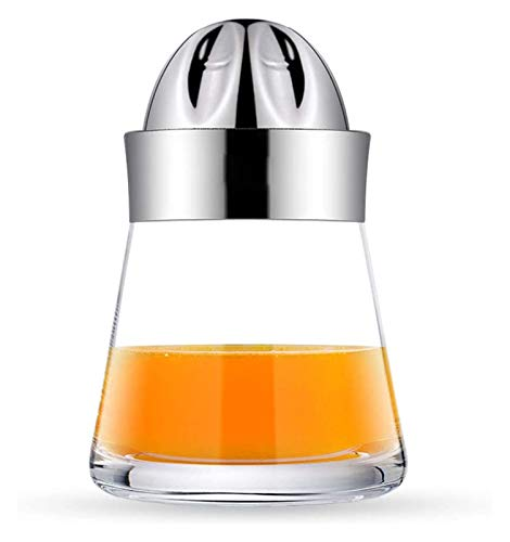 Exprimidor de cítricos exprimidor de mano, giro manual de la tapa de acero inoxidable Presione el contenedor de vidrio del colador de escariador, for naranja limón limón pomelo for la bebida hecha for