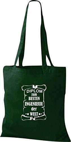 Shirtstown Stoffbeutel, Diplom zum besten Ingenieur der Welt, Spruch Sprüche, Tasche Beutel, Jute, Shopper, einkaufen Logo Motiv, Farbe grün