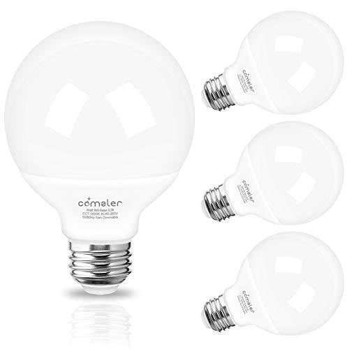 G25 Globe LED Bulbs,Vanity Light Bulb 60 Watt Equivalent Comzler Bathroom Light Bulbs 5000K Daylight 900LM Makeup Mirror Light for Bedroom E26 Medium Screw Base,9W Non-dimmable,Pack of 4
