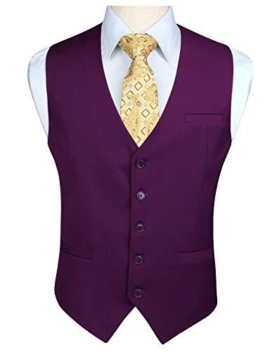 HISDERN Gilet da uomo in cotone viola in solido cotone con gilet formale da lavoro da uomo