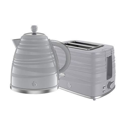 Swan Symphony 2 Pack Kettle and Toaster Set in Grey, Contemporary Style, Eye-Catching Gloss and Matte Ribbon Motif, Energy Efficient, STP3050GRN