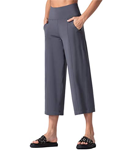 THE GYM PEOPLE Bootleg Yoga Capris Pants for Women Tummy Control High Waist Workout Flare Crop Pants with Pockets (Small, Dark Grey)