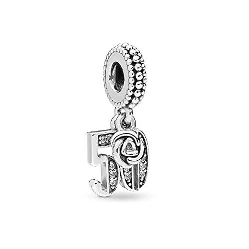 FGT Colgante de plata de ley para pulseras Lcuky número 16 18 21 30 50 60 colgante de celebración aniversario regalo de cumpleaños, Plata esterlina,