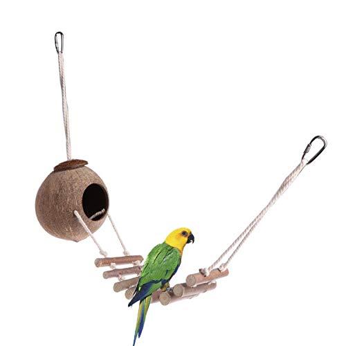 Yunnyp Papagei Kokosnuss Muschel Vogelnest Vogelhaus mit Leiter Kokosnuss Muschel Vogelnest Hängen Vogelkäfig Spielzeug