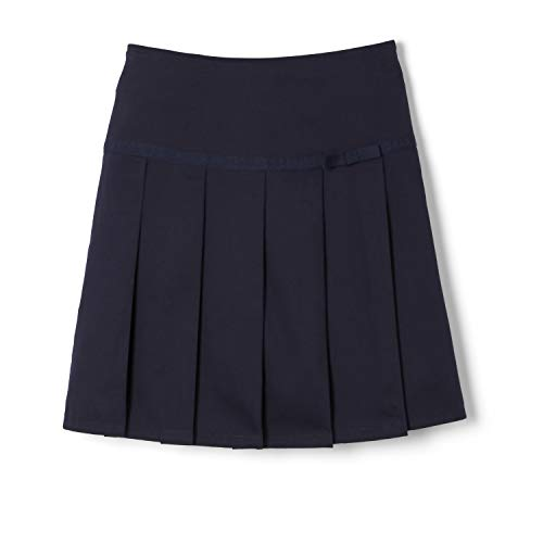 French Toast girls Pleated Scooter With Grosgrain Ribbon School Uniform Skirt, Navy, 6 US