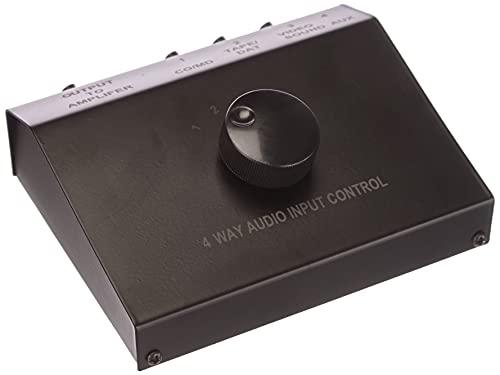 Transmedia AZ5L - Conmutador de audio de 4 entradas, negro